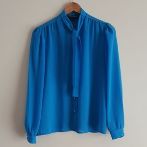 Vintage Blue Blouse with Tie